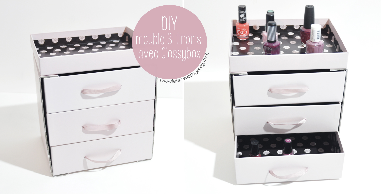 Diy meuble 3 tiroirs avec glossybox les envies de - Meuble avec beaucoup de tiroirs ...